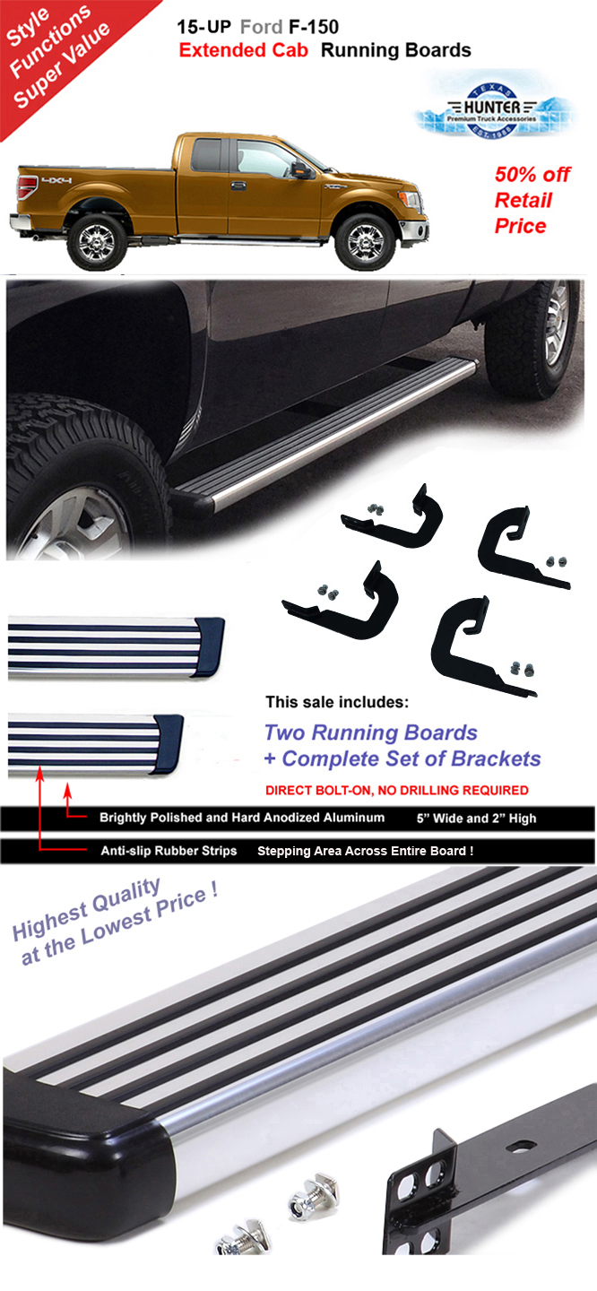 ford 2015 2016 2017 f 150 extended cab running board polished in aluminum chrome ebay. Black Bedroom Furniture Sets. Home Design Ideas